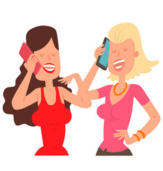 Two girl friends character talking his cell phone vector