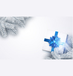 White new year background with gift vector