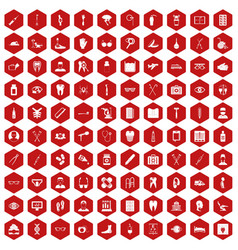 100 medical treatmet icons hexagon red vector image vector image
