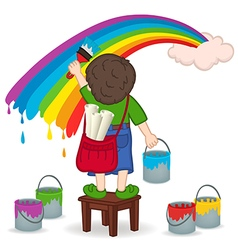boy painting rainbow vector image