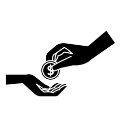 Hands holding coins icon simple style vector