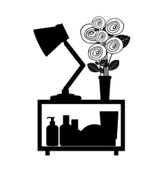 Monochrome decorative shelf with vase and lamp vector