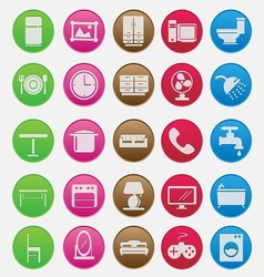 Furniture Icon Set Gradient Style vector image