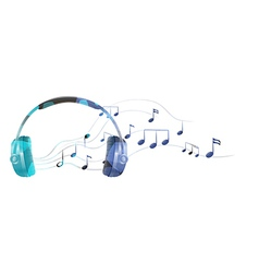 A headphone with musical notes vector
