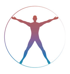 Modern colorful vitruvian man vector