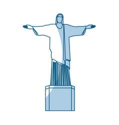 Shadow redeemer christ statue vector