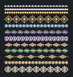 Set of ornamental borders of beads of gold color vector
