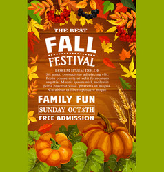 Fall festival poster of autumn harvest template vector