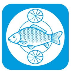 fish on a plate with lemons vector image