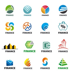 Large collection of of logos finance vector