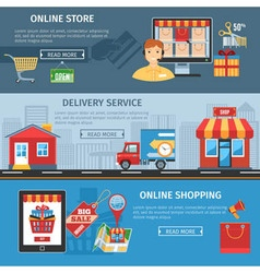 Online shopping and delivery flat banners set vector