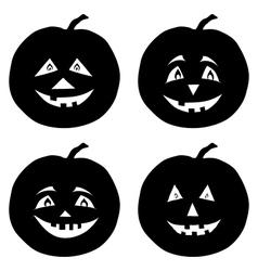 Pumpkins Jack O Lantern silhouettes vector image