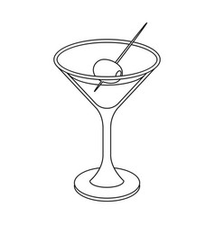 a glass of alcohol with oliveolives single icon vector image vector image