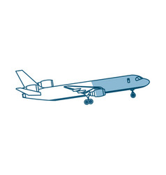 Airplane passenger commercial transport outline vector