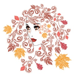 Autumn Girl with Floral12 vector image vector image