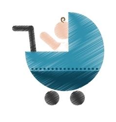 Baby cart icon vector