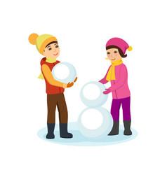 Boy and girl in winter clothes sculpt a snowman vector