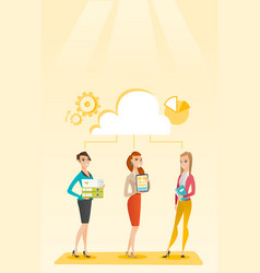 Business women and cloud computing technologies vector