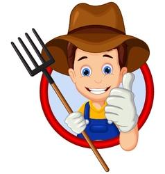 Cartoon farmer thumb up vector