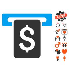 Cash withdraw icon with love bonus vector