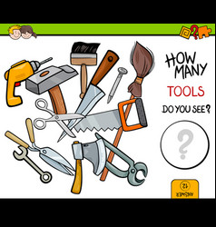 Counting tools educational activity game vector