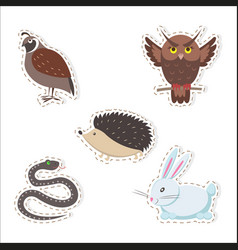 cute cartoon forest animals stickers collection vector image vector image