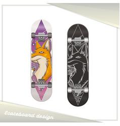 Design skateboard fox vector