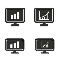 diagram screen icon set vector image vector image