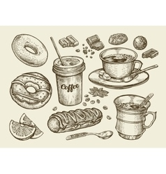 Drinks and food hand drawn coffee tea cup vector