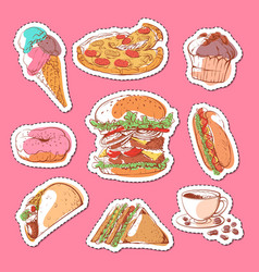 fast food isolated labels set vector image vector image