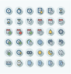 Flat color thin line icons set with date vector