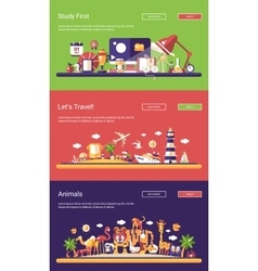 Flat design banners set school travel and wild vector