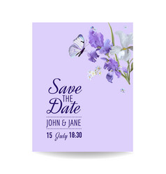 Floral wedding invitation template greeting card vector