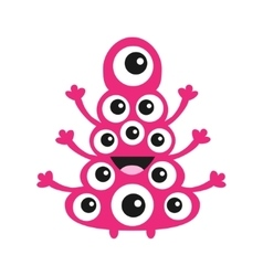Funny monster with many eyes cute cartoon vector