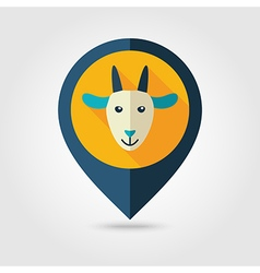 Goat flat pin map icon Animal head vector image
