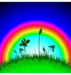 grass under rainbow vector image vector image
