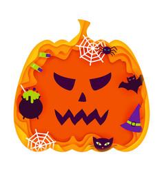 Halloween pumpkin papercut concept vector