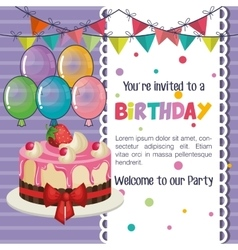 Happy birthday invitation with balloons air and vector