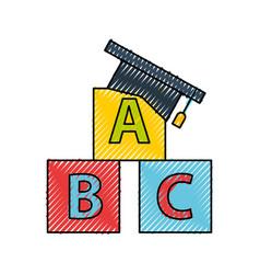 Hat graduation with alphabet blocks vector