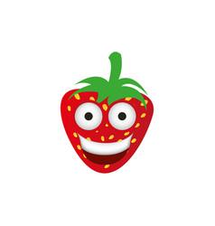 kawaii fruits strawberry happy icon vector image vector image