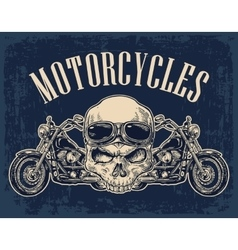 Motorcycle side view and skull with glasses vector image