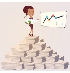 Office woman showing a graph Flat style vector image