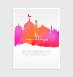 Ramadan flyer with mosque in colorful watercolor vector