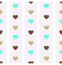 Seamless heart pink stripped pattern vector image