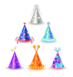 set of different festive caps in cartoon style vector image vector image