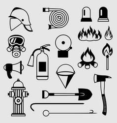 set of firefighting items fire protection vector image vector image