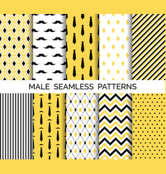 set of male seamless patterns black and yellow vector image vector image