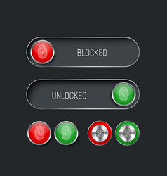 Set of sliders switches and buttons red and green vector