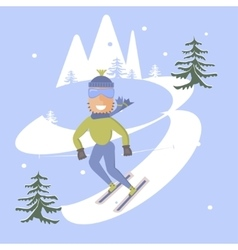 Skier and snow vector