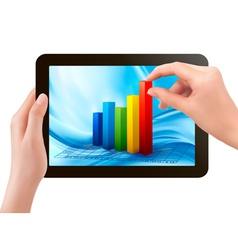 Tablet screen with graph and a hand vector image